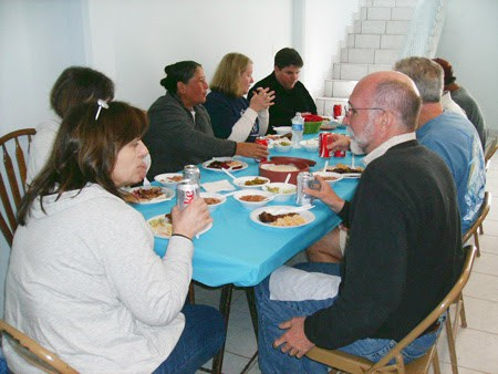 The Board of Directors sharing a meal with staff in Reynosa