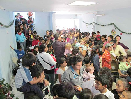 Kids at the clinic during Christmas fiestas