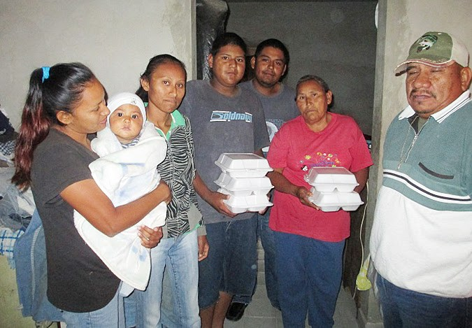Delivering food packages to families in Miguel Aleman