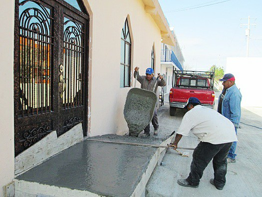 Building a ramp for the church in Miguel Aleman