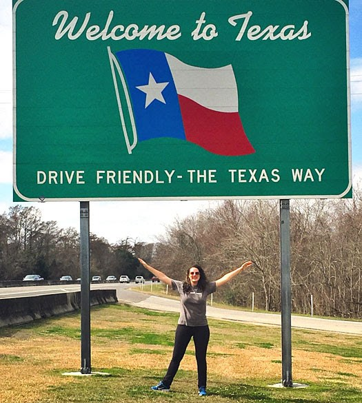 New staff member Colleen Cook on her drive into Texas