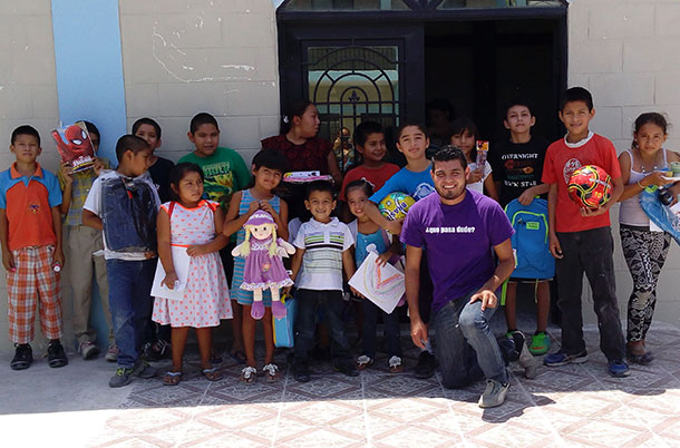 The kids with Pastor Carlos at VBS in Reynosa