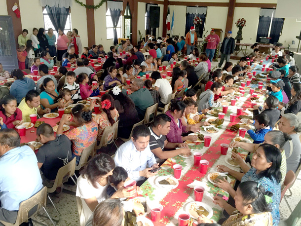 Eating a delicious meal at the Christmas fiesta in Reynosa