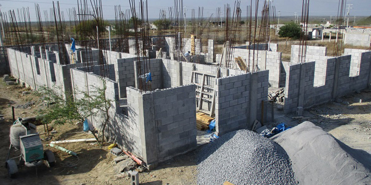The walls going up on the community center in Miguel Aleman