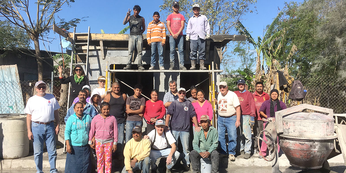 A team in Reynosa after pouring a roof