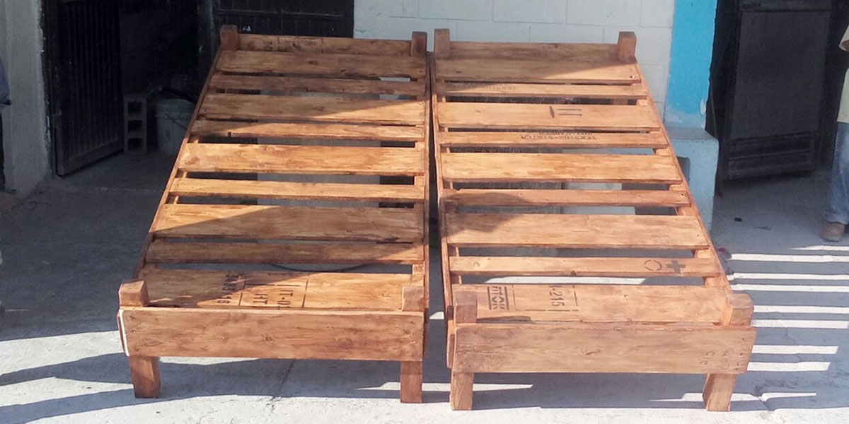 Two beds made in the woodworking shop in Reynosa