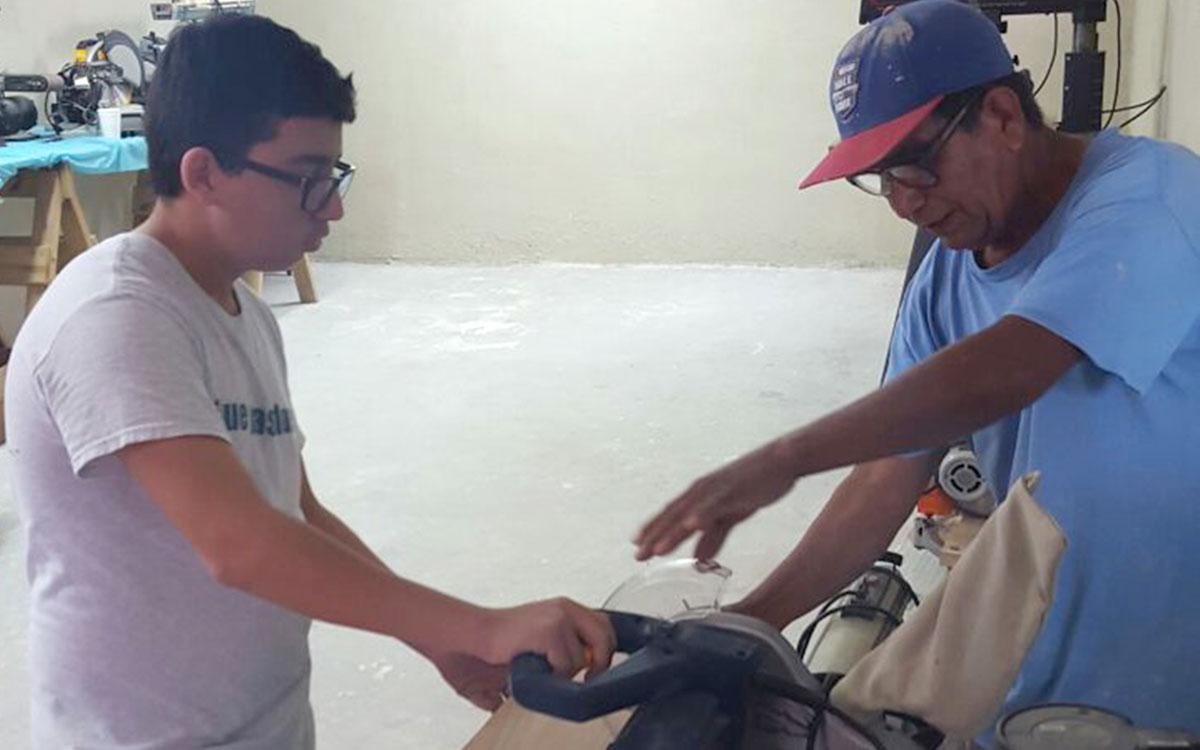 Jose teaching woodworking in Reynosa
