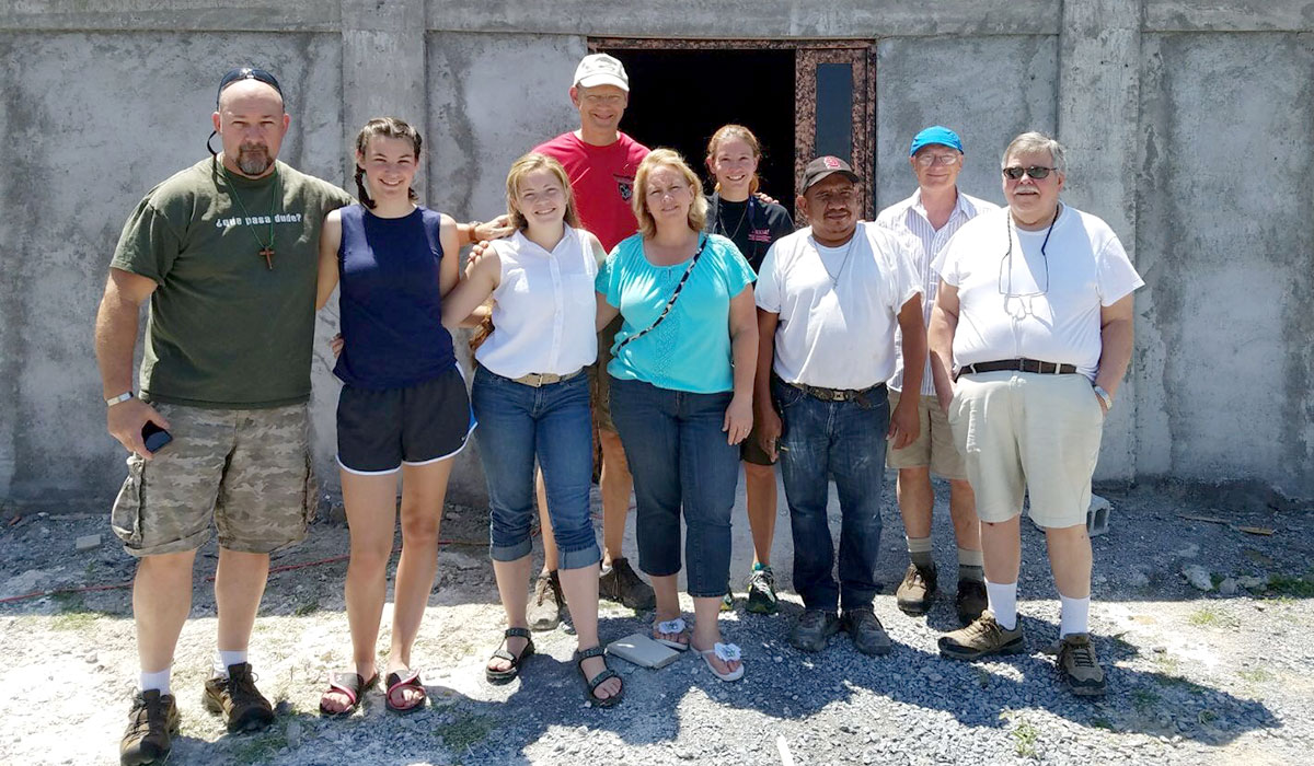 A team visiting the new community center in Miguel Aleman