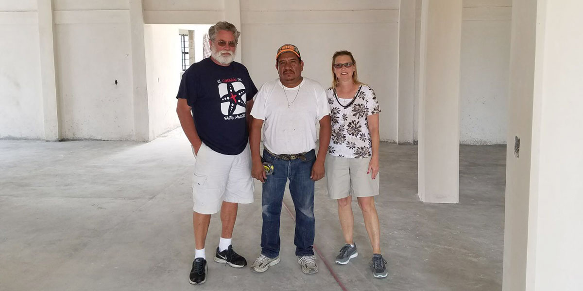 Friends visiting the community center in Miguel Aleman with our foreman Luz