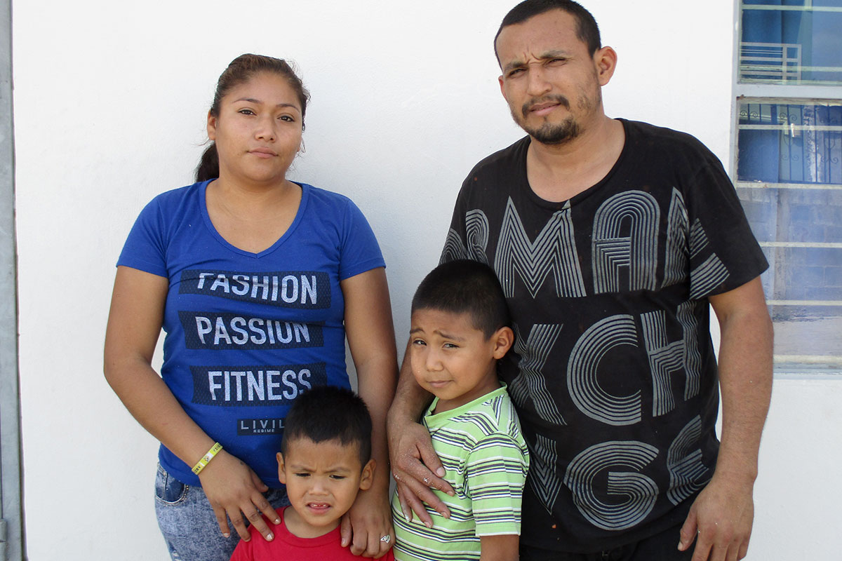 A family waiting for a house in Miguel Aleman