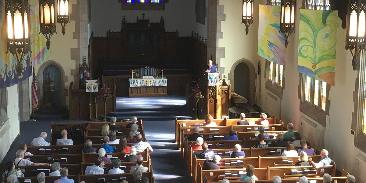 David preaching at Irvington Presbyterian in Indianapolis