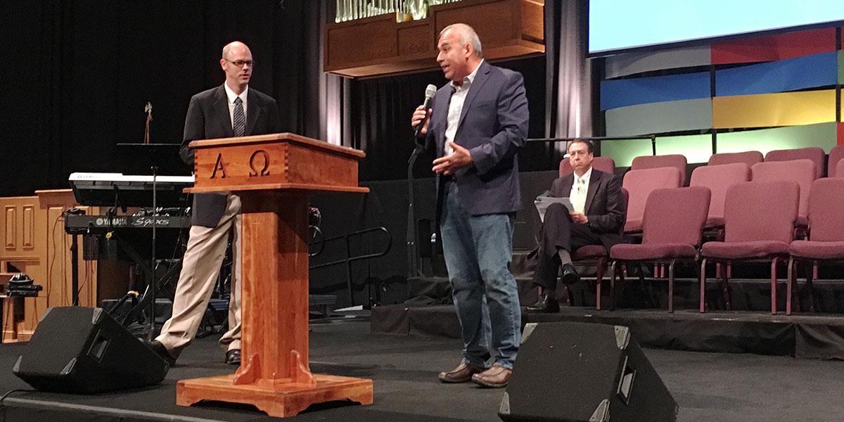 David preaching at Southport Presbyterian Church in Indianapolis