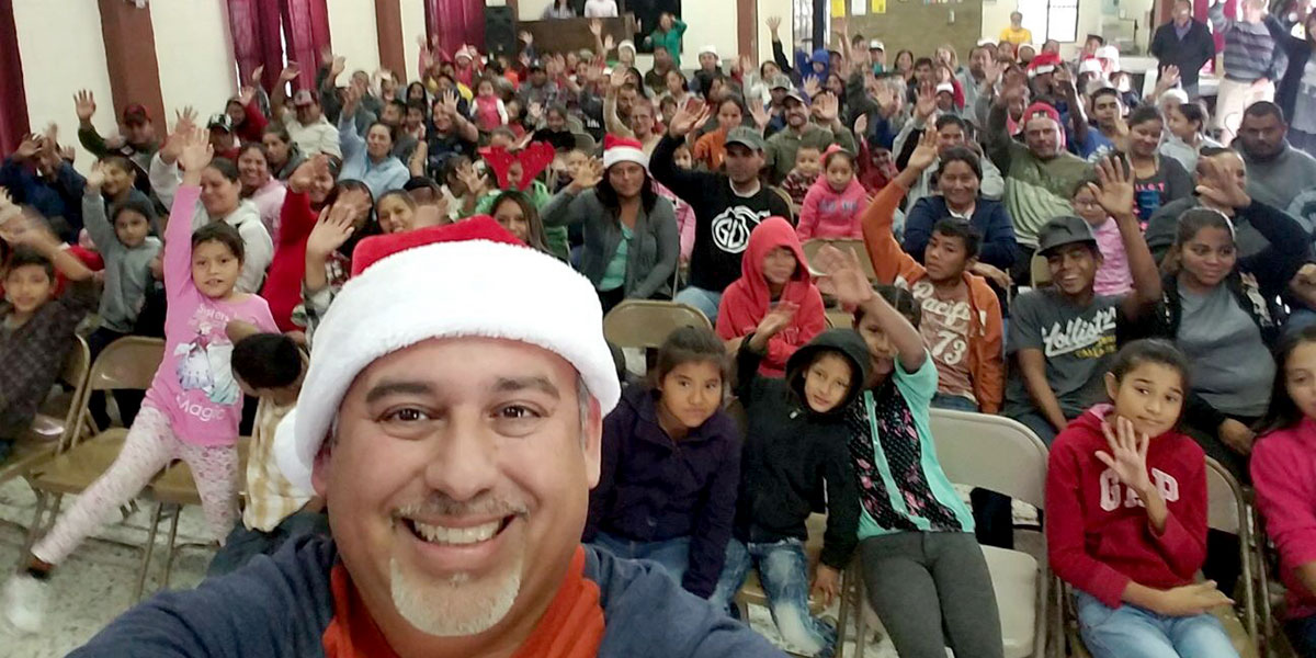 A selfie with David at the Christmas fiesta in Reynosa