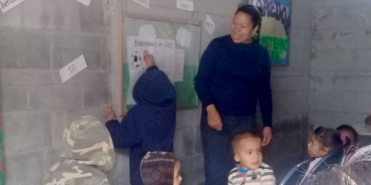 Kids learning Bible lessons in Miguel Aleman