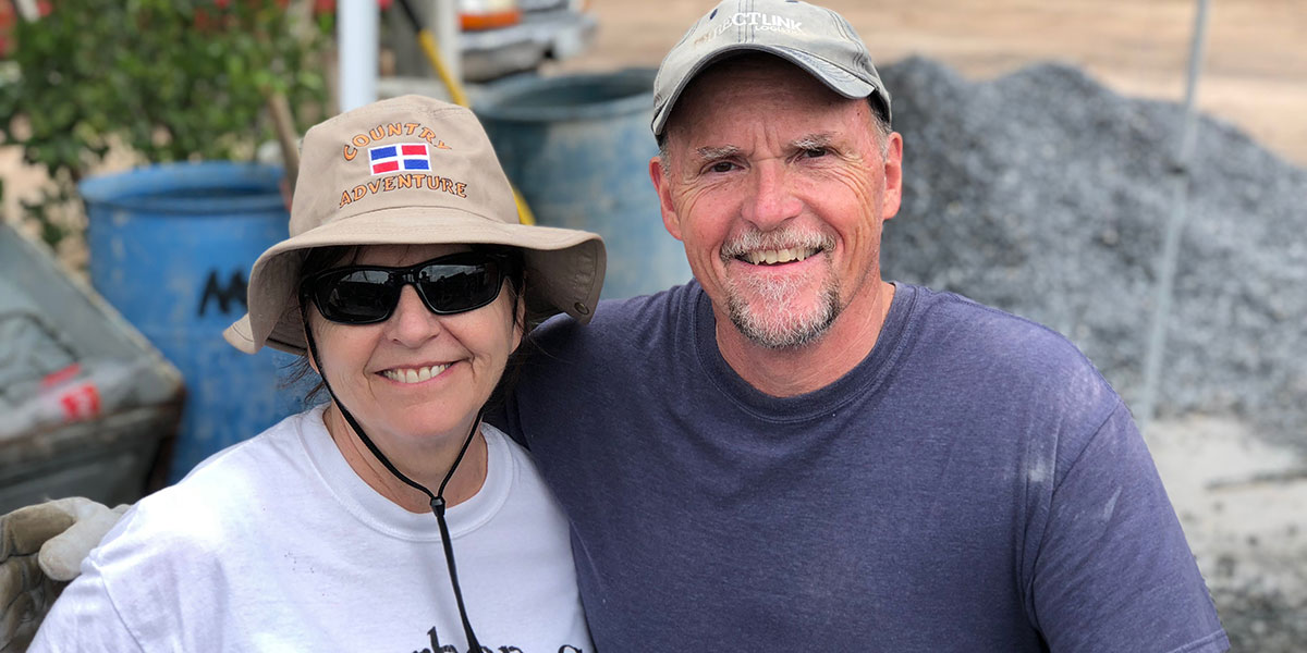 Wife and husband Kathy and Doug on the jobsite in Mexico