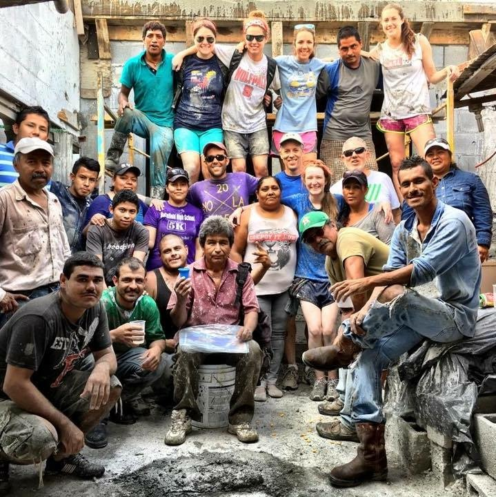The group from North Carolina with the staff and volunteers after pouring a roof in Reynosa