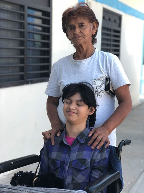 Monserrat and her grandmother in Reynosa