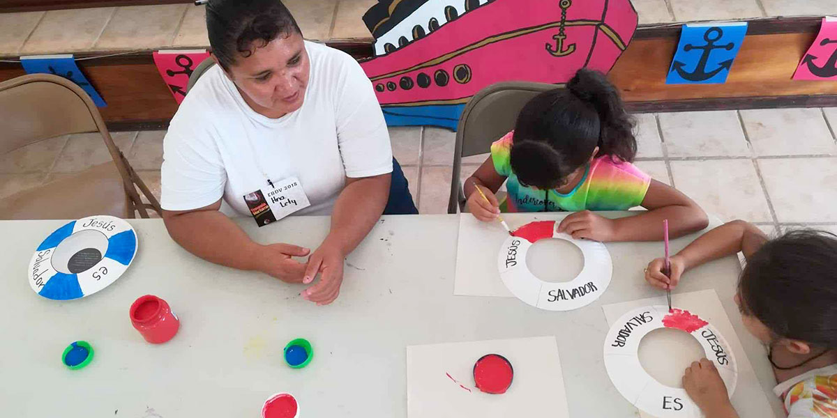 Doing crafts at Vacation Bible School in Miguel Aleman