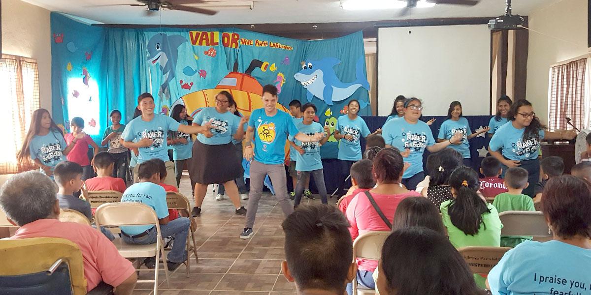 Performing a song at Vacation Bible School in Naranjito