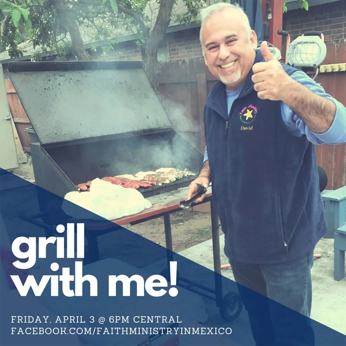 Join us on Facebook on Friday at 6pm Central for a virtual cookout with David