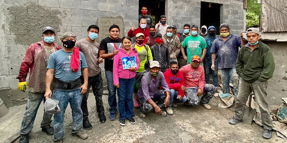 The family staff and extra workers after pouring the roof of Casa 6 in Reynosa Mexico