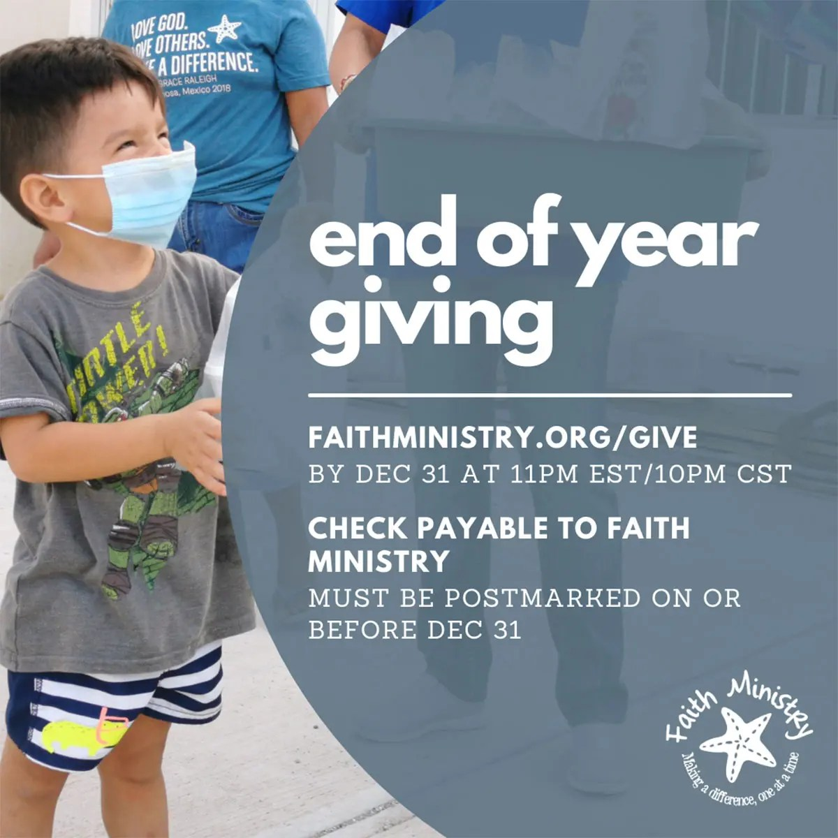 Donate by December 31 for end of year giving for 2020
