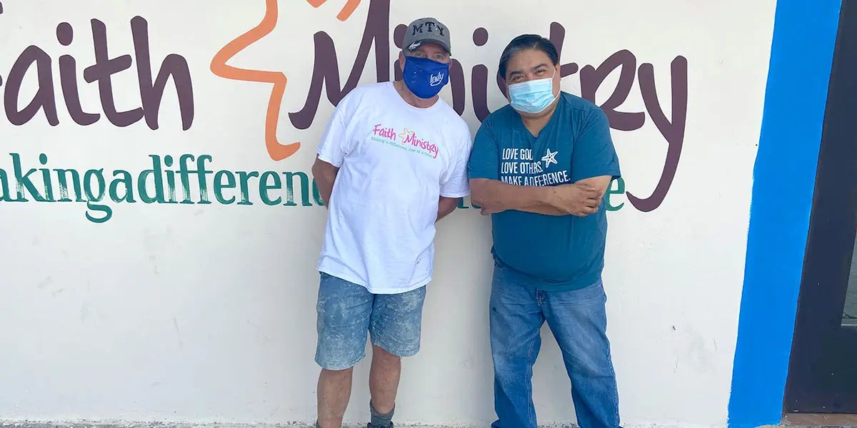 Our Board member Tom with Omar in Reynosa Mexico