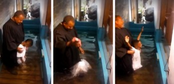 boy baptizes himself