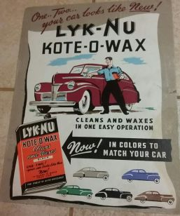 Photo of vintage 1940s Lyk-Nu Kote-O-Wax countertop display advertisement.