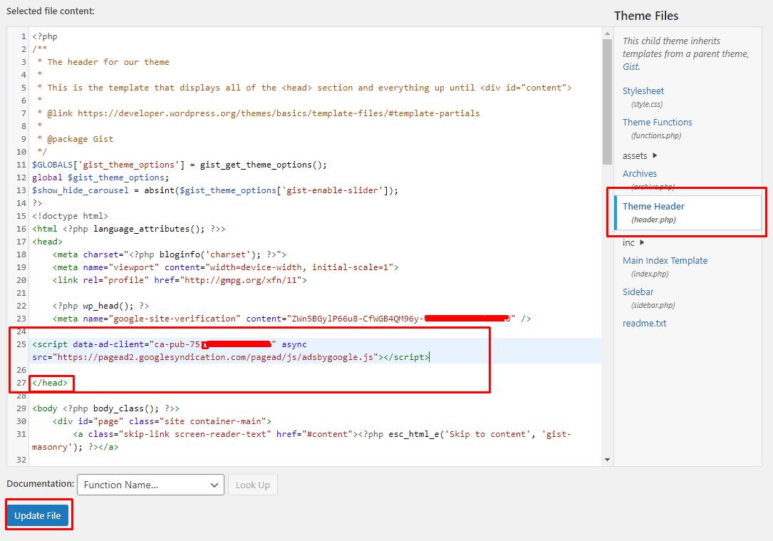 Cara Pasang Kode Google Adsense di Header WordPress