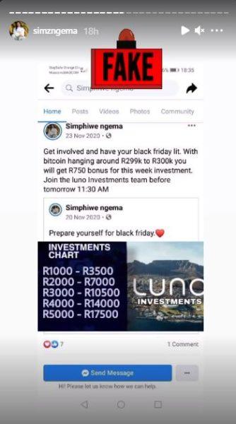 """Simz Ngema Slams Fake Facebook Account – """"This is a serious matter"""