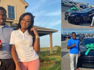 Tweeps react as lady buys her husband an expensive car