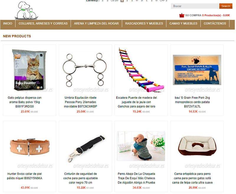 Artesyredesdelsur.es Tienda Falsa Online Productos Perros Gatos