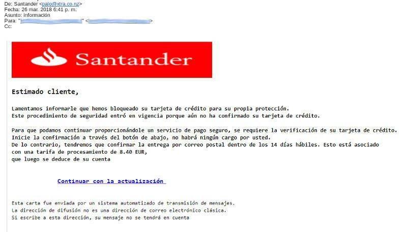 Email Phishing Banco Santander Ejemplo