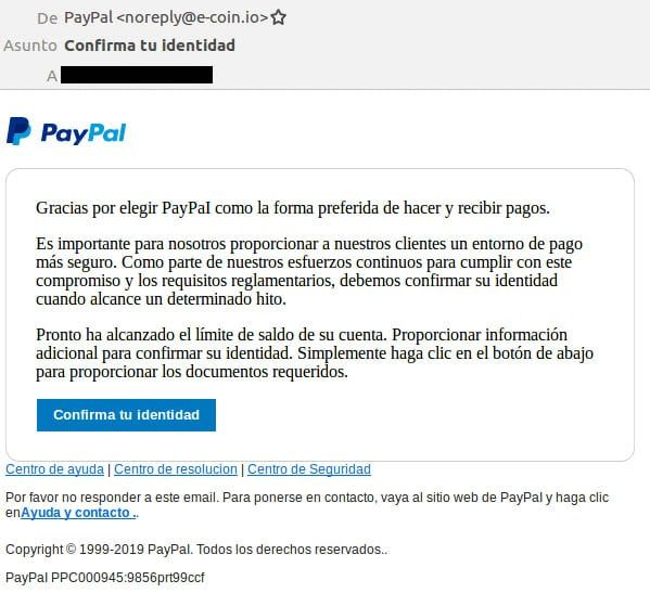 Paypal Phishing By Email Confirm Your Identity