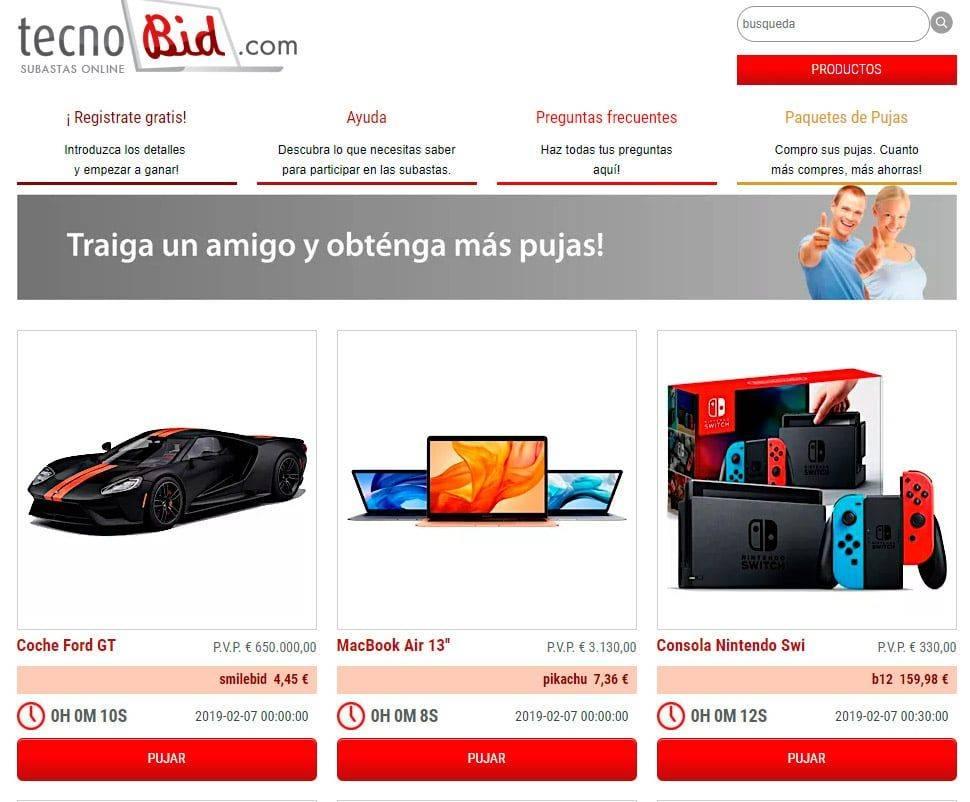Tecnobid.com Web Online Subastas Estafa