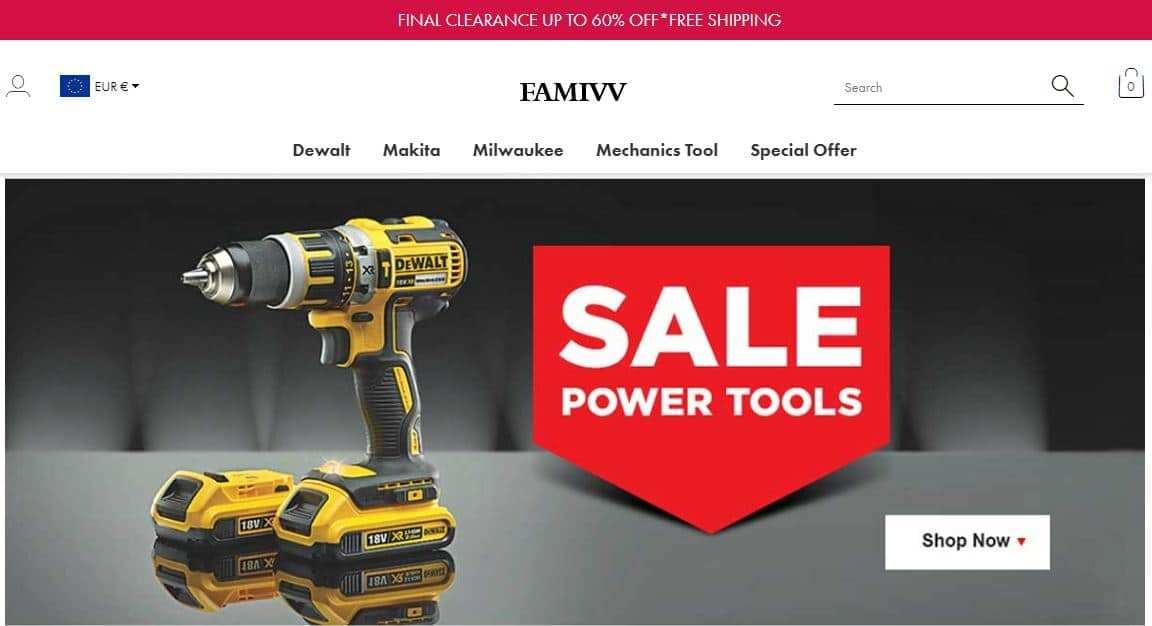 Famivv.com Tienda Falsa Online Herramientas