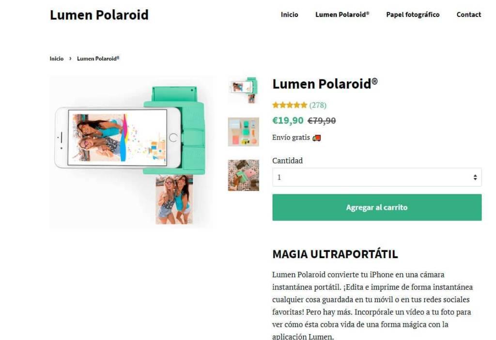Lumenpolaroid.com Tienda Falsa Online