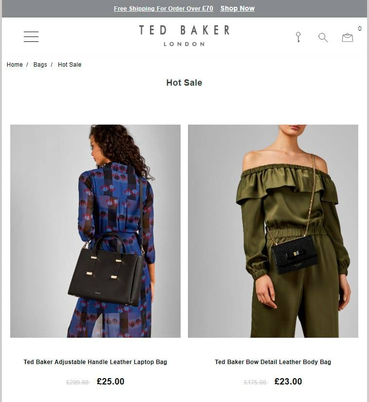 Tedbakerdeals.online Tienda Falsa Online Ted Baker