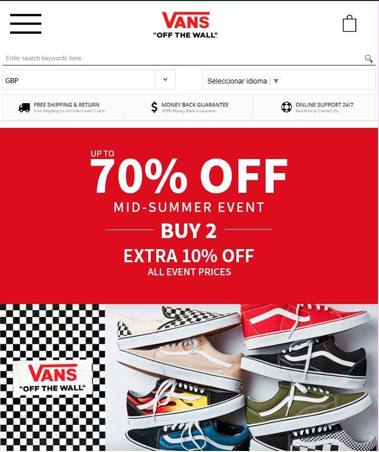 vansshoes.shop false online shop Vans Fakes, Scams and