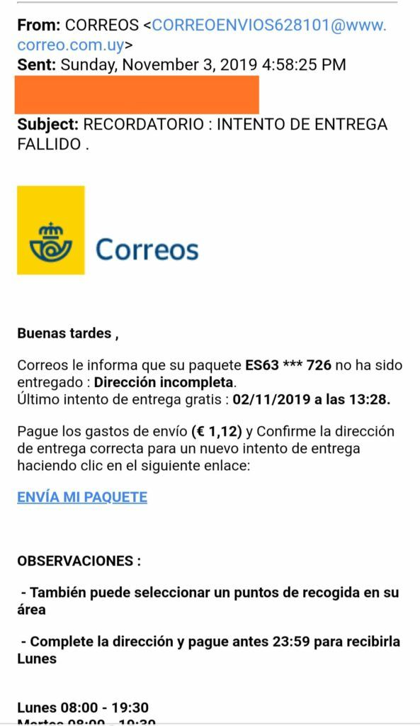 Correos Phising Email