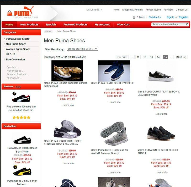 Eurpuma.com Tienda Falsa Online Zapatillas Puma