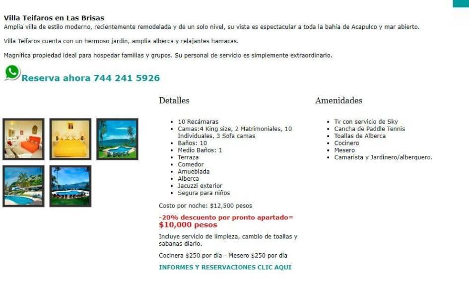 Villasmocambo.com Posible Estafa