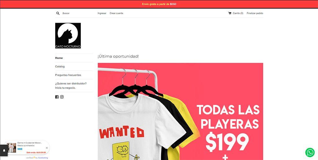 Gatonocturno.com.mx Tienda Online Falsa Camisetas