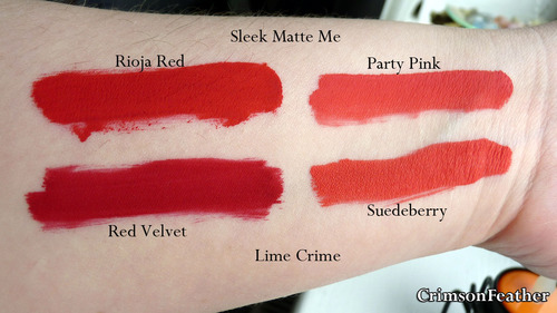 Lime-Crime-Red-Velvet-Suedeberry-Matte-Me-Rioja-red-party-pink-swatches