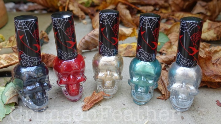 Revolution Halloween Skull Nail Polish Review and Swatches – Bloodthirsty, Goblin King, Horror Show, Monster and Poltergeist