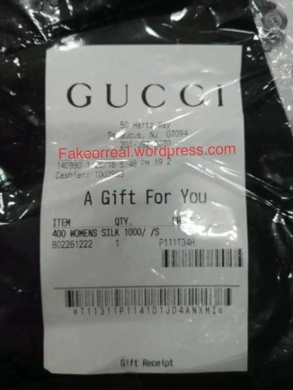 Fake GUCCI Gift Recipt