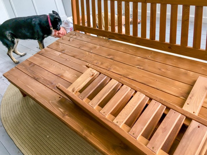 Dad constructing the wood daybed