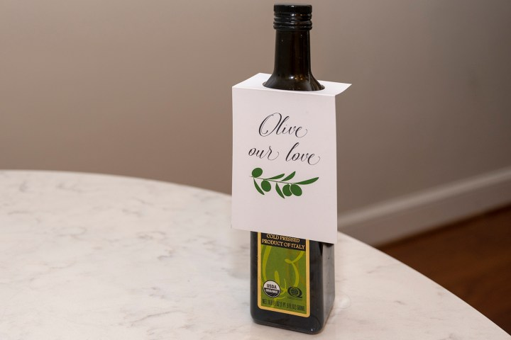 Free Printable Olive Oil Bottle Tags from Faking it Fabulous