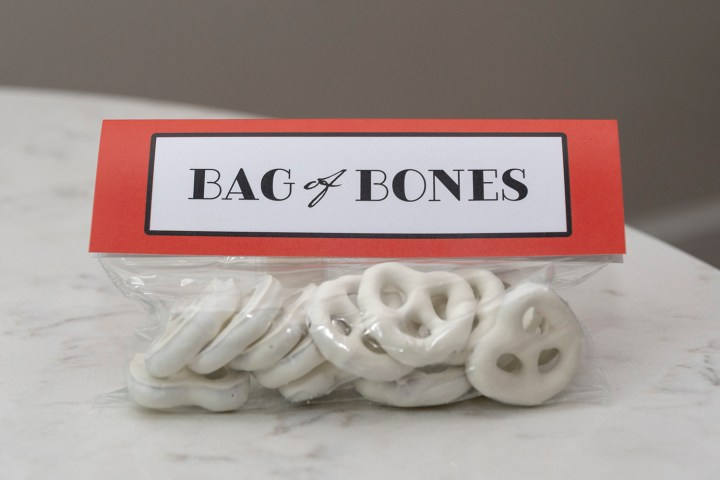 Bag of Bones Yogurt Pretzels craft project tutorial and free printable